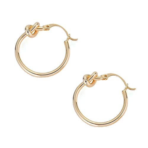 MYANAIL Minimalist Knot Circle Hoop Earrings Classic Women's...