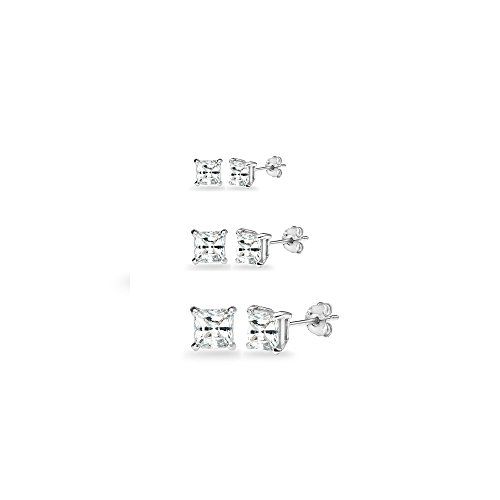 (3-Pair Set Sterling Silver White Topaz Princess-Cut Square Stud Earrings, 3mm 4mm 5mm)
