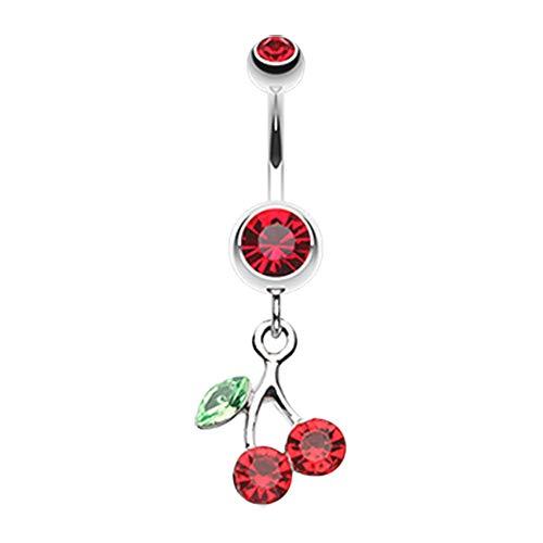 - 14 GA Lucky Cherry Dangle Belly Button Ring (Davana Enterprises) (14GA Red)
