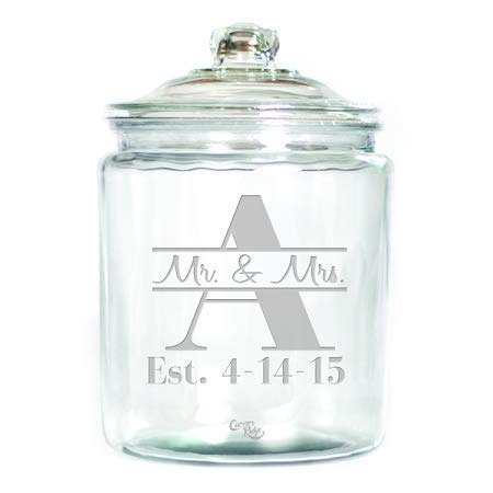 (Engraved Glass Half Gallon Canister - Personalized - Mr. & Mrs. through Monogram)