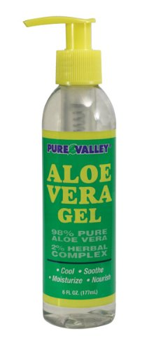SAVE! Aloe Vera Gel - Pure Valley Moisturizing, Cooling, Soothing. Sun Burn Relief and After Sun Care. 6oz.