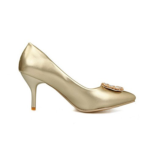 AllhqFashion Womens Pointed Closed Toe Spikes-Stilettos Patent Leather Pull On Pumps-Shoes Gold ZFHU33D
