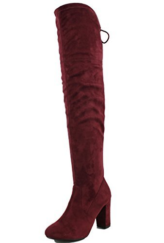 Delicious Womens Faux Suede Back Tie Over The Knee Chunky High Heel Dress Boot Vino TfK7i