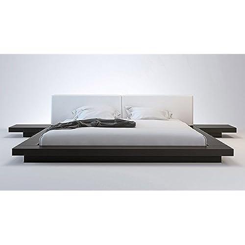 amazing asian platform bed. White Leather and Wenge Brookline King Platform Bed Asian  Amazon com