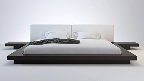 [White Leather and Wenge Brookline King Platform Bed] (Asian Bed)