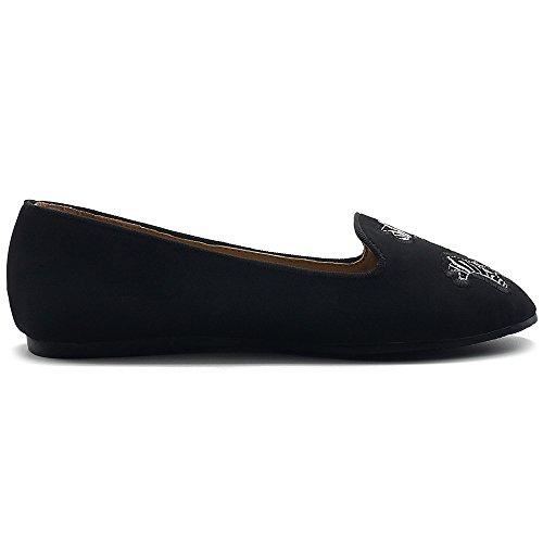 On Ollio Black Flat Embroided Womens Light Comfort Zebra Slip Shoes fxq7Cw1