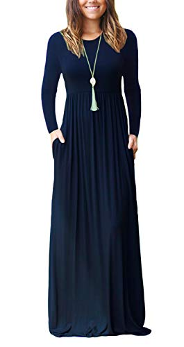 (Euovmy Women's Long Sleeve Dresses Pocket Casual Loose T-Shirt Dress Navy Blue Medium)