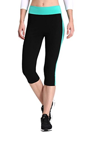 Neonysweets Womens Yoga Capri Tights Running Fitness Pants Leggings Black Aqua XL