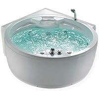 WHIRLPOOL Baignoire Florence avec 14 Jets de massage+Chauffage+désinfection à l'ozone + éclairage / lumière + chute d'eau + radio - BAIGNORE d'angle bain moussant