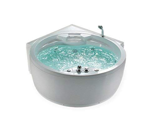 Whirlpool Bathtub Florence with 14 Massage Nozzles + Heater + Ozone Disinfection + Lighting / Light + Waterfall + Radio - Corner bath Bubble bath supply24