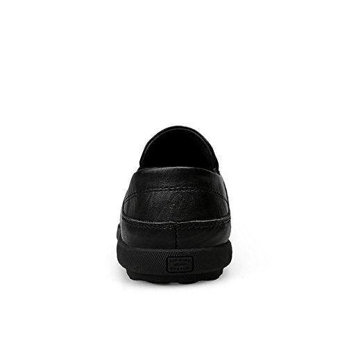 del Mocasines los Cuero Hombres tamaño Suaves del Negocio con Meimei Las Suelas Caminan mocasín Que del Hombres shoes 43 Ligeros Genuino Zapatos Barco Color los de de Negro EU de wtqwp0v1xY
