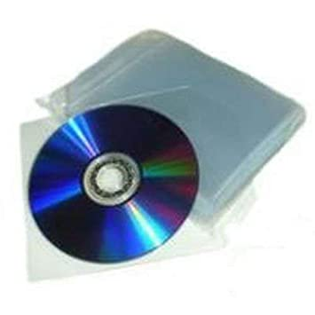 Conf.100 Sobres Bolsas Funda Transparente CD/DVD con tapa de cierre solapa