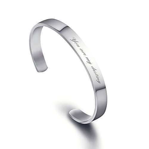 Personalized Stainless Steel Mirro Polished Cuff Bracelet -Free Engraving (Metal)