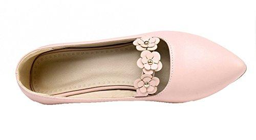 Damen Schuhe Pink Pumps Niedriger PU AgooLar Absatz Ziehen Schließen Zehe auf 6SZZxqw