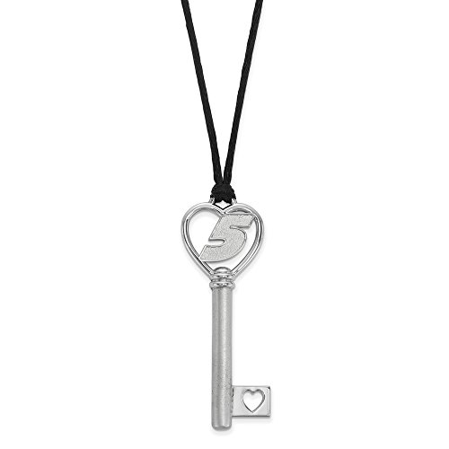 Jewelry Stores Network Kasey Kahne #5 Heart Key On Silk Cord Necklace In Sterling Silver 11.34 Gr -