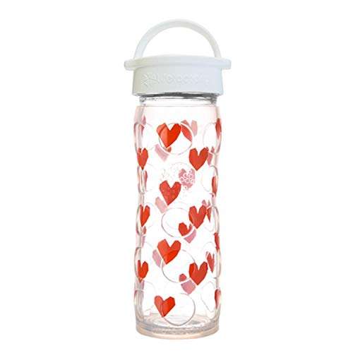 Lifefactory 16oz Glass Bottle with White Classic Cap and Silicone Sleeve - Tru Luv (White Cap Classic)