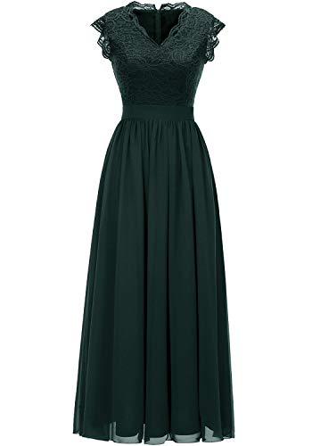 Dressystar 0050 V Neck Sleeveless Lace Bridesmaid Dress Wedding Party Gown XS Green