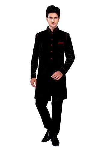 Black Velvet Silk Indian Wedding Indo-Western Sherwani For Men by Saris and Things