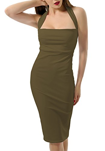Army Fancy Dress (Womens Sexy Halter Square Neck Summer Knee Midi Length Backless Sleeveless Bodycon Classic Night Club Party Dress Army Green Small)