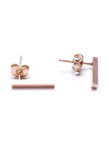 [Happiness Boutique Women Modern Lines Earrings in Rose Gold | Elegant Titanium Ear Studs nickel] (Unique Costume Ideas For Teenage Girls)