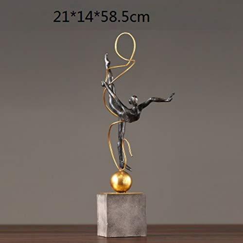 Statues Figurines Sculptures,Black Creative Personality Retro Ballet Girl Figurines Iron Gymnastics Sport Art Sculpture Metal Handicrafts Living Room Decorations Home Decoration