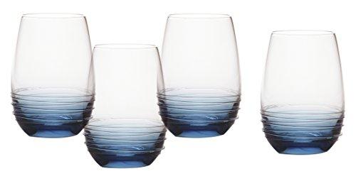 (Mikasa Swirl Cobalt Stemless Wine Glass (Set of 4), 16.5)