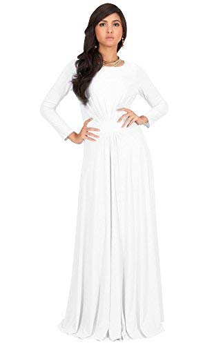 KOH KOH Womens Long Full Sleeve Sleeves Flowy Empire Waist Fall Winter Modest Formal Floor Length Abaya Muslim Gown Gowns Maxi Dress Dresses, Ivory White M 8-10