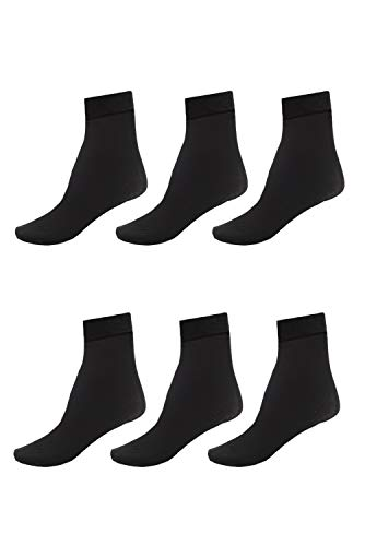 Socks Ankle Spandex Nylon - 6 Pack of Women Ankle Socks with Comfort Band Stretchy Spandex Opaque, Black
