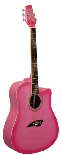 Pink Cutaway Acoustic Guitar (Kona K1PNK Acoustic Dreadnought Cutaway Guitar in Gloss Pink Burst Finish)