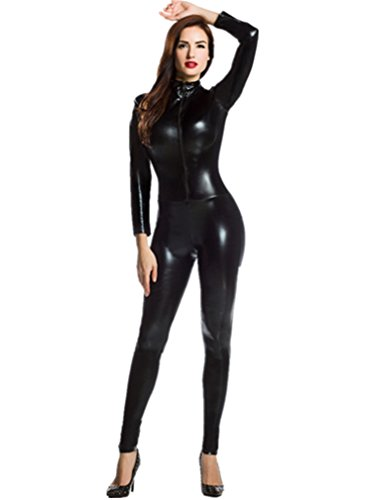 Amour- Catsuit Women Bodysuit Zip up Clubwear Stripper (Regular Size, black) (Body Suit Costume)