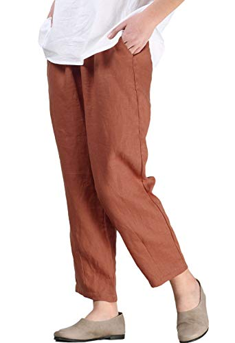 Mordenmiss Women's Linen Ankle Pants Capris Cropped Tapered Trousers with Pockets (L,Orange)