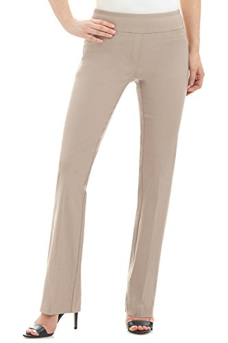 Rekucci Women's Ease in to Comfort Boot Cut Pant (12SHORT,Khaki)