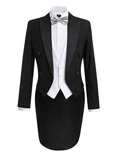 Lilis Men's Fashion 3 Piece Black Tuxedo Tails Includes Tailcoat Vest& Formal Pants ()
