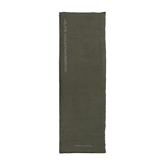 ALPS Mountaineering Comfort Series Air Pad 2 Brushed suede-like top and thicker pillow section gives you maximum comfort Polyester bottom fabric with anti-slip dots prevents you from sliding around Brass non-corrosive valve for maximum durability