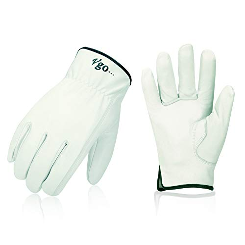 Vgo 3Pairs Unlined Top Grain Goatskin Work and Driver Gloves(Size L,White,GA9501)