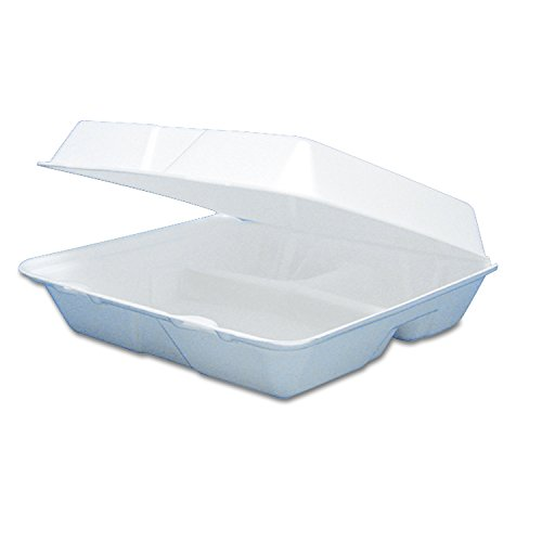 Dart 85HT3R Foam Container, Hinged Lid, 3-Comp, 8 3/8 x 7 7/8 x 3 1/4 (Case of 200)
