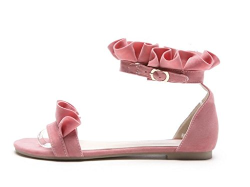Pink De Pink 1cm Plana base elegancia Sandalias Loto Hoja Nacionales Comodidad Xie 40 sandalias 31 42 38 Mujer ga6wxS