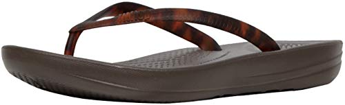 FitFlop Womens Iqushion Tortoiseshell Flip Flop, Adult, Chocolate Brown Turtle, 5 M US