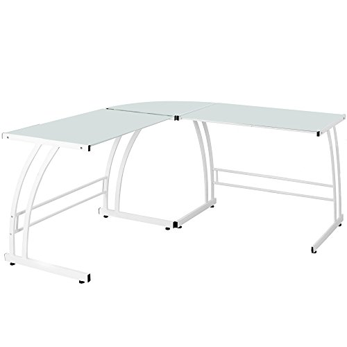 Lumisource Contemporary Gamma Desk, White Frame/White (Lumisource Modern Table)
