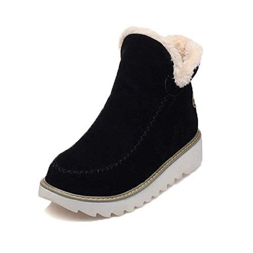 Botas De Nieve Mujer Invierno Aire Libre Altas Calentar Forrado Botines Snow Ankle Boots Zapatos De Cuna 3cm Negro 38