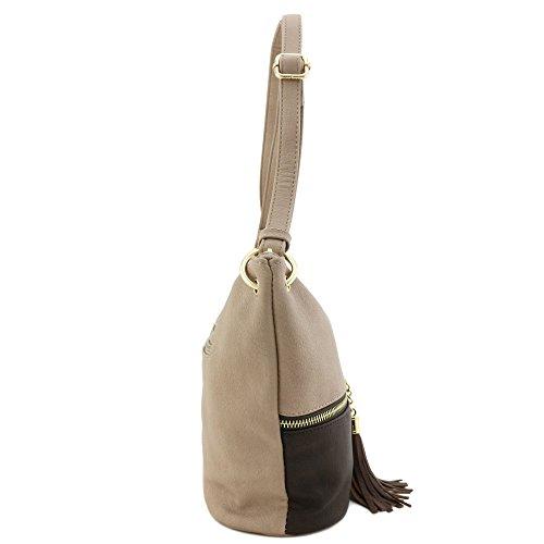 Crossbody Tassel Accent Bucket Coffee Bag Light Taupe qTBRwT