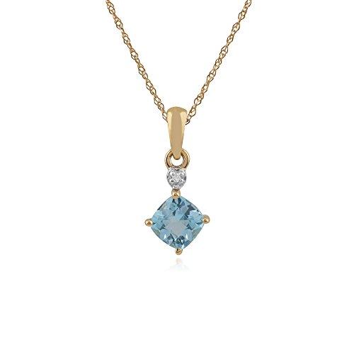 Gemondo Bague en or jaune 9carats avec Topaze Bleu et Diamant Boucles d'oreille à tige et collier de 45cm de