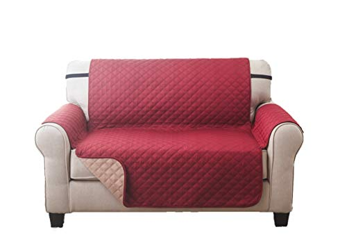 Deluxe Reversible LoveSeat Furniture Protector, Burgundy / Taupe - Leather Loveseat Burgundy