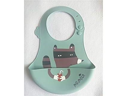 Fox patrón de silicona bebé babero bebé toalla de la saliva bebé Bib babero Drool adecuado