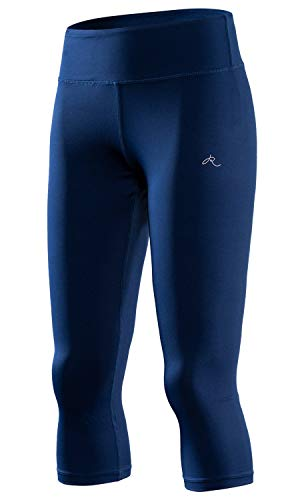 RION Active Women's Yoga Capri Shorts Leggings Workout Cropped Pants Blue