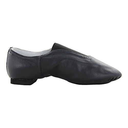 Msmax Womens Slip On Leather Scarpe Da Ginnastica Nere