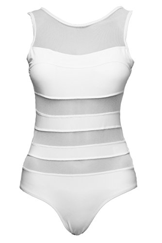 White Striped Bathing Suit - 2