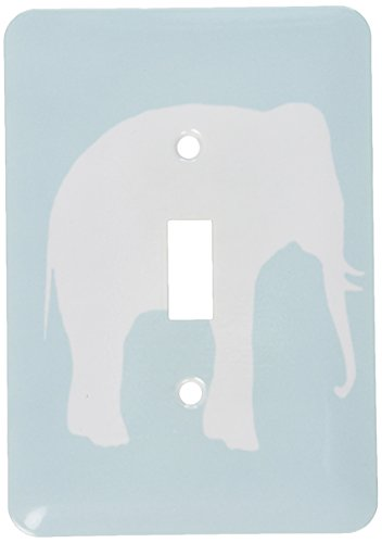 3dRose lsp_164909_1 Mint Elephant Silhouette. White Wild Animal Shadow. Pastel Aqua Blue - Single Toggle Switch
