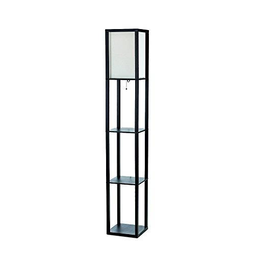 Simple Designs LF1014-BLK Floor Lamp Etagere Organizer Storage Shelf with Linen Shade, Black