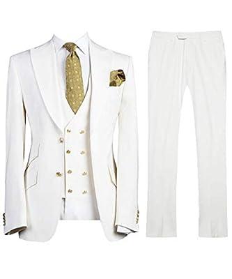 LILIS Men's Fashion 3 Pieces Suit Slim Fit Wedding Suits for Men Groom Tuxedos